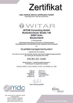 WITAR Zertifikat Qualitätsmanagement