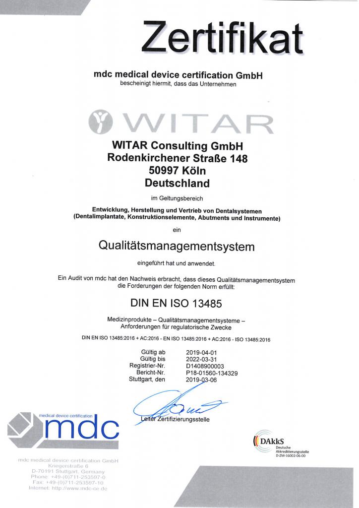 WITAR Zertifikat Qualitätsmanagement 2019-04-01/2022-03031